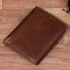 8b9806d299843 Vintage Genuine Leather 13 Card Slots Driver License Tri-fold Wallet For Men.  Key Bag