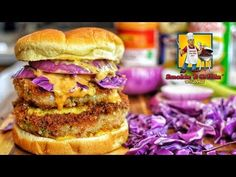 EPIC No beef burger Collaboration - Shrimp Burger - This is a collaboration video spearheaded by MeatHead. He tagged several channels incliding mine with the. Cooking Oil, Easy Cooking, Cooking Videos, Beef Burgers, Salmon Burgers, Burger Recipes, Seafood Recipes, Shrimp Patties Recipe, Shrimp Burger