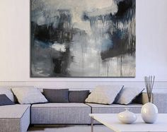 Giclee Print extra large, gray black white Abstract Painting, blue Abstract, large painting on print, huge wall art office lobby decor art