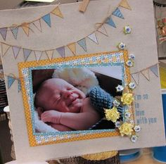 Sweet baby scrapbook layout with banner #PSB
