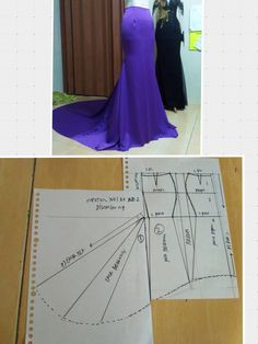 diy dress skirt pattern making - PIPicStatsThe long arrows are actually indicating a fold, I think!Discover thousands of images about Pola rokSemi-tail skirt - Do it Yourself Clothesfind more at Dress Sewing Patterns, Clothing Patterns, Fashion Sewing, Diy Fashion, Sewing Clothes, Diy Clothes, Pola Rok, Robe Diy, Costura Fashion