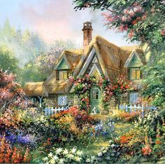 I would need a gardener, for this, but it is a perfectly beautiful thatched roof English cottage & garden...so lovely.