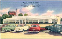 Vintage postcard of Edgewood Diner, Edgewood, Maryland