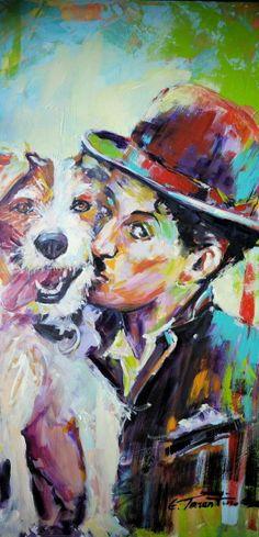 a mans love,a dogs life.. Acryla auf Leinwand 50 x 100 cm