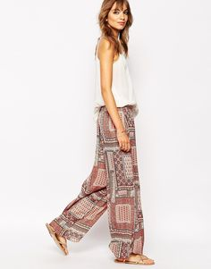 boho paisley wide leg pants