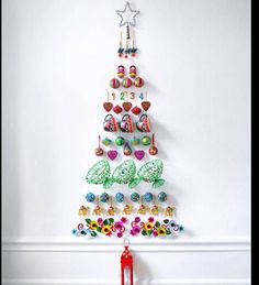 In a series of our tips on #ChristmasTree for Crafty Kids to Make - Let the kids have some fun by choosing a range of Christmas ornaments or everyday objects and trinkets to layer on a wall in the shape of a Christmas tree. Use Blutack or invisible or double sided tape that won't remove the wall paint when you take them down!