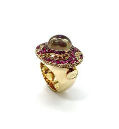 Rose Garden ring - cognac diamonds, pink sapphires and smoky quartz - Nol Jewellers
