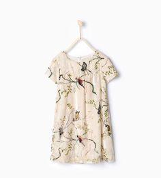 ZARA - NIÑOS - Vestido terciopelo pájaros