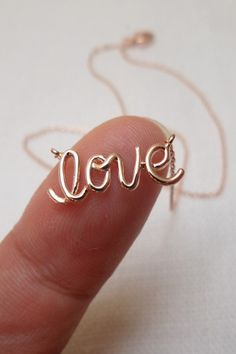 """""""Love"""" Rose Gold Dainty Necklace                                                                                                                                                                                 More"""