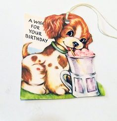 Spotted Spaniel Tags  Birthday Wish Tags  Set Of 3  by SiriusFun