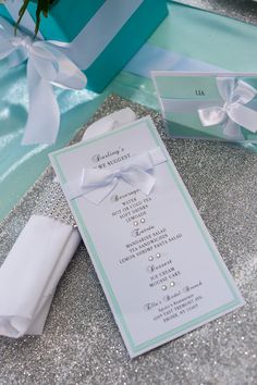 Tiffany & Co Menu by EmbellishedPaper on Etsy, $2.00 would love these as invites!! So cute!
