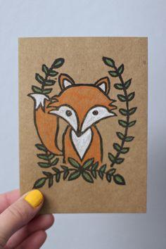 Handmade Fox Card #etsy
