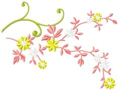 Branch free embroidery - Flowers free machine embroidery designs - Machine embroidery community