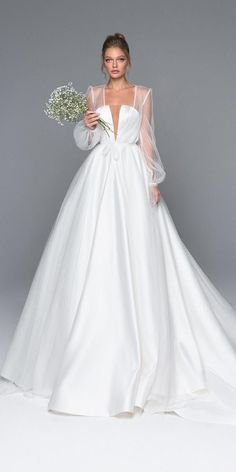 24 Bridal Gowns With Sleeves Never Fails To Impress 24 wedding dresses with sleeves never impress ★ ladies, are you looking for the perfect wedding dress? We bring a bridal gown with sleeves! These dresses will look absolutely adorable! Take a look! Perfect Wedding Dress, Dream Wedding Dresses, Bridal Dresses, Prom Dresses, Evening Dresses, Gown Wedding, Modest Wedding, Long Dresses, Trendy Wedding