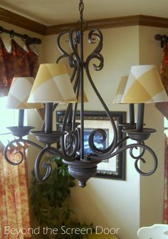 How to Recover Chandelier Lamp Shades   Beyond the Screen Door