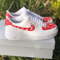 "promo code 0277b 97472 Image of Air Force 1 ""Supreme Louis Vuitton"" (with front and back tab"