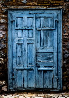 rustic blue door