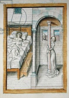Ms 680/1389 A man in a bed and a woman attached to a pillar, from 'The Fables of Bidpai', c.1480 (w/c on paper)