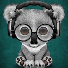 Cute Baby Koala Bear Dj Wearing Headphones on Blue | Jeff Bartels