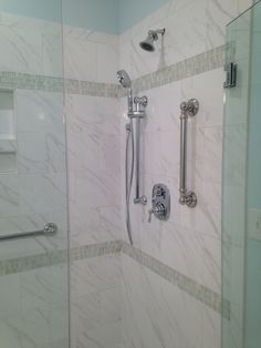 Daltile Florentine FL06 Carrara 10x14 with glass accent Daltile Clio CL13 Luna mosaic