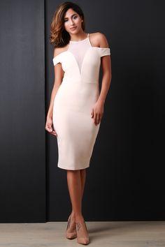 Look fabulous in Cold Shoulder Open Back Bodycon Dress. You deserve it.