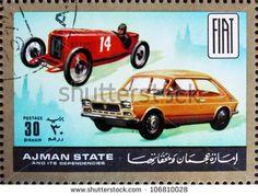 Ajman Stamp - Fiat then & now