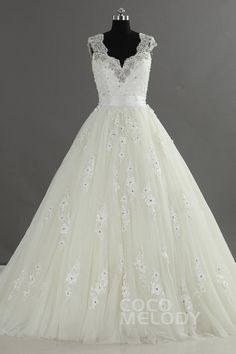 Luxurious+A-Line+V-Neck+Natural+Train+Tulle+Ivory+Sleeveless+Wedding+Dress+with+Appliques+and+Crystal+LWVT1401F