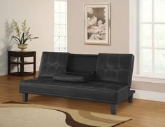 Lifestyles Domino 3 Position Convertible Sofa in Black Leather $399.00