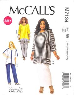 McCALL'S 7134 - FROM 2014 - UNCUT - MISSES TUNIC, SKIRT, AND TROUSERS