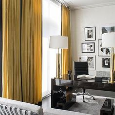 Home Office with Yellow Curtains with Black Trim
