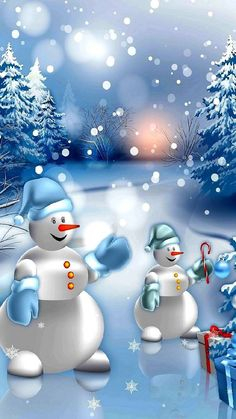 Holiday wallpaper winter blue christmas 19 new ideas Snowman Wallpaper, Christmas Phone Wallpaper, Winter Wallpaper, Holiday Wallpaper, Blue Christmas, Beautiful Christmas, Christmas Time, Christmas Ornaments, Cute Wallpapers
