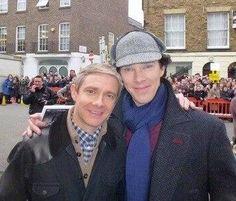 Benedict Cumberbatch with Martin Freeman as Sherlock and Watson