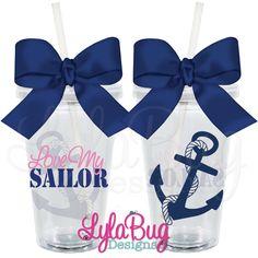 Love My Sailor Acrylic Tumbler Custom Personalized Acrylic Tumblers Navy Wife, Navy Girlfriend, Navy Mom  LylaBug Designs