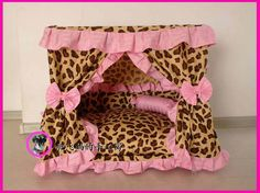 Gorgeous Luxury Princess Pet Dog Cat Puppy Bed House Cute Leopard Sz Large 27.56''x19.6''x27.56'' Made to Order. $120.00, via Etsy.