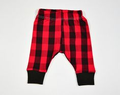 Red Buffalo Plaid Baby Leggings, Red & Black Leggings, Christmas Newborn Take Home Outfit, Newborn Pants, Going Home Pants, Toddler Leggings
