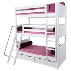 Three people can easily sleep together in a triple loft bed. It's a great cottage for twins or different ages of your family kids. It has a large storage space for keeping kids' playthings or essential commodities, and floor space under loft bed can be kids' playing area.