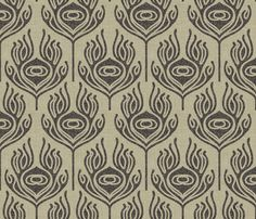 burlap_peacock_feather fabric by holli_zollinger on Spoonflower - custom fabric