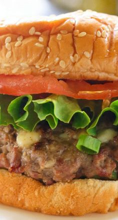 These Blue Cheese Burgers have blue cheese crumbles mixed throughout the meat and are moist and full of flavor. Burger And Fries, Good Burger, Cheeseburgers, Hamburgers, Slider Recipes, Sandwich Recipes, Burger Mania, Real Food Recipes, Cooking Recipes