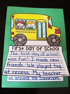 First Day of School writing activity that is perfect for the first day of school because it is NO PREP! You print - kids write, color, cut, glue - instant bulletin board