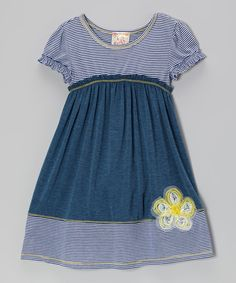 Take a look at this Pink Vanilla Navy & Teal Daisy Dress - Toddler & Girls on zulily today!