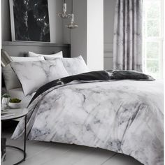 Bedding Duvet Cover Set Single White Grey Marble Pattern Modern Style Microfiber Quilt Cover with Zipper Closure Bedding Set for Boys and Girls Duvet Bedding Sets, Bedding Sets Online, Bed Duvet Covers, Luxury Bedding Sets, Duvet Cover Sets, Teen Bedding Sets, Gold Bedding, Bedding Decor, King Comforter