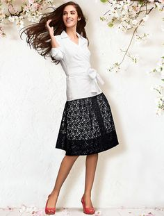 Have never found the right top to wear with this skirt.  This white blouse sure isn't it, even though that's what they styled with it.