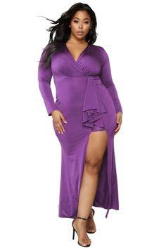 5d2682615c9 Purple Surplice Long Sleeve Plus Size Dress