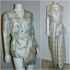 vintage 1960s plaid jumpsuit / silver BERNETTI New York formal gown suit – Retro Trend Vintage