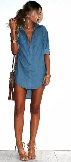 Here is Denim Dress Outfit Ideas Gallery for you. Denim Dress Outfit Ideas 32 beautiful denim dress to inspire your daily fa. Denim Shirt Dress Outfit, Jean Dress Outfits, Jumpsuit Denim, Komplette Outfits, Chambray Dress, Night Outfits, Spring Outfits, Summer Bar Outfits, Summer Outfit