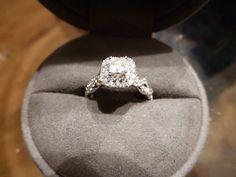 Vera Wang LOVE Princess-Cut Engagement Ring! 14K White Gold +Wedding Band! #VeraWang