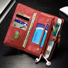 Multi-slot Retro Split Leather Wallet Zipper Holder Cover Case For iPhone 7 Plus 5.5 Inch Sale - Banggood.com