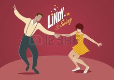 Young couple dancing lindy hop or swing or rock n roll Stock Vector