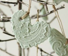 Handmade Salt Dough Ornament-use a doily to imprint this design, then paint. Nice Christmas gifts!