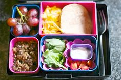 Make-your-own mini soft tacos...For more creative ideas for school lunches visit https://www.facebook.com/SchoolLunchIdeas